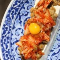 2月23日  鶏ぶつの唐揚げと冷奴の納豆キムチのせ