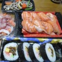 エブリィの寿司とわたなべ生鮮館庭瀬店の半額寿司のコラボ