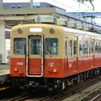 阪神 甲子園(2020.2.16) 赤胴車 7868、青胴車 5008 並び/7868F 回送
