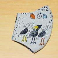 3羽のハシビロコウの子が可愛い♥ひんやり布マスク