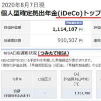 iDeCo(イデコ)、つみたてNISAの運用経過公表!(2020年8月)