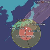 東京は夜の九時頃:台風19号
