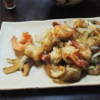 ミニホタテとえびの炒め物。