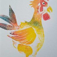 No.1695 版画「鶏」