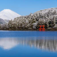雪景色の芦ノ湖