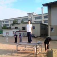 西田地方児童クラブ ラジオ体操始まり式へ体操指導