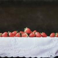 『白いクロスの苺』油彩画