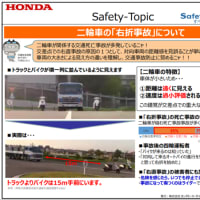 2020年11月度 Hondaセーフティトピック  二輪車の「右折事故」について
