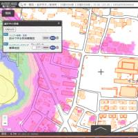 津波避難用と水害避難用の「標高範囲ごとに、別々の色を塗った国土地理院地図」。標高範囲の例。「ゼロ~5~10~20~30~40メートル~」「-3~-2~-1~ゼロ~10」「100~110~130~」