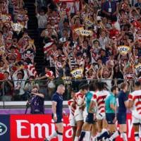 "【CNN】    10月13日22:54分、""""ラグビーW杯 日本が決勝T進出、スコットランドを破る"""""