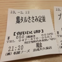 2月12日の夕飯 松屋 京成大久保 鶏タルささみ定食