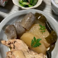大根と手羽元の煮物の夕食