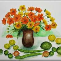 花と果実の絵