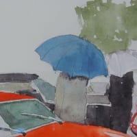 雨のコッパディ東京 水彩画 ヤフオク出品