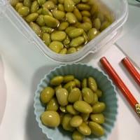 収穫した枝豆で青酢豆を作る