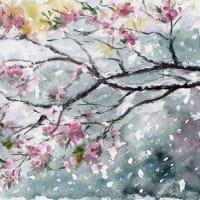 雪と桃の花