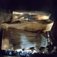 お初、暖炉火入れ❗️