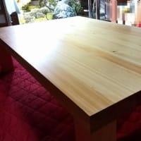 ヒノキ2枚重ねテーブル 完成