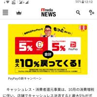 PayPayキャッシュレスによる10%還元