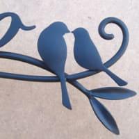 オリーブの実×葉っぱ×ツタ×鳥さん夫婦をモチーフにした表札