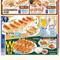 習志野市 京成大久保 日高屋 W餃子定食 と 焼きとり丼