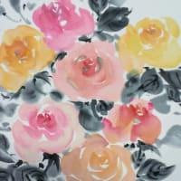 墨彩画 薔薇の色紙