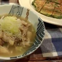 参鶏湯ににらチジミ。