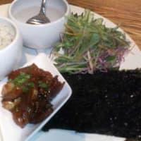 今日のお食事、韓国手巻セット♪