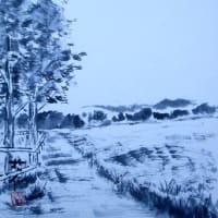 冬枯れの高原(水墨画)
