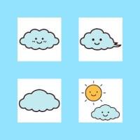 「お天気1/曇り」(お天気のマーク/ミニカット)