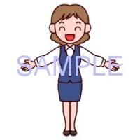 女性・立ちポーズ2/販売員/販売・ビジネスのイラスト