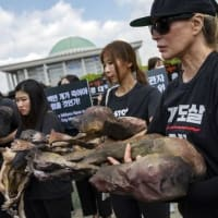 Korean Dog meat farmers hold a tasting event next to an animal rights groups' rally