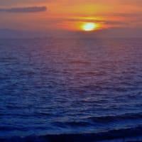 夏の荒尾干潟・荒尾海岸の夕陽