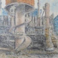 楽描き水彩画「建設工事現場の休日」