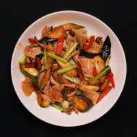 2019.08.30の夕食 豚バラ肉と野菜のオイスターソース炒め