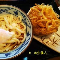 丸亀製麺大和郡山店の温泉たまごのせ冷たいぶっかけうどん+野菜かき揚げ