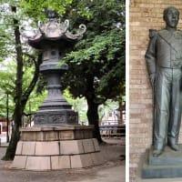 日本橋の麒麟像と靖国神社青銅燈籠の麒麟像レリーフ