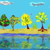 カラフルに色づいた木々