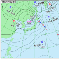 8月16日 アメダスと天気図。