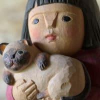 但馬木彫 松田京子/愛しきもの(ネコと少女)