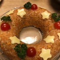 クリスマスに炊き込みごはんをリースの形にしました!今日からおせち料理作りです。