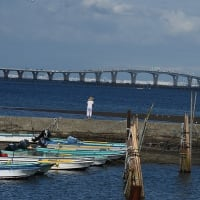 台風のあとの海を見るステテコのおじさん