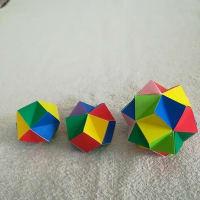 折り紙で「くす玉30面体(20+5面体)」を折って(編んで)みました。