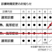 【最新】2021年8月23日からの診療時間変更のお知らせ