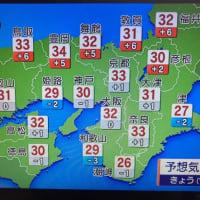 今日の天気予報、最高気温33度だって!(京都市)