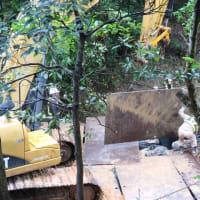 連日の雨のなか強行される辺野古側埋め立て工事/第2ゲート近くの森の中で進められる工事