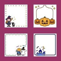 ハロウィン1(秋の季節・行事/枠・ふきだし)