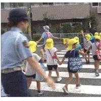 保育園児が横断歩道の渡り方学ぶ。車道の自動車運転者に見やすいよう、子供は、手を「前向き水平」または「前向き上向き45度」に教えるべき。上向きは、「車が通過後わたる準備」と誤解される恐れ。動画参照