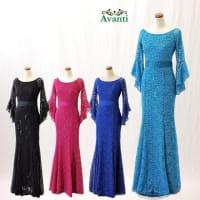 ロングドレス362 マーメードライン 美しいシルエットの袖付きロングドレス 衣装 ワンピース 即納 フォーマル ワンピ パーティー ストレッチ