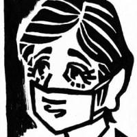 マスクをしている似顔絵1(似顔絵)